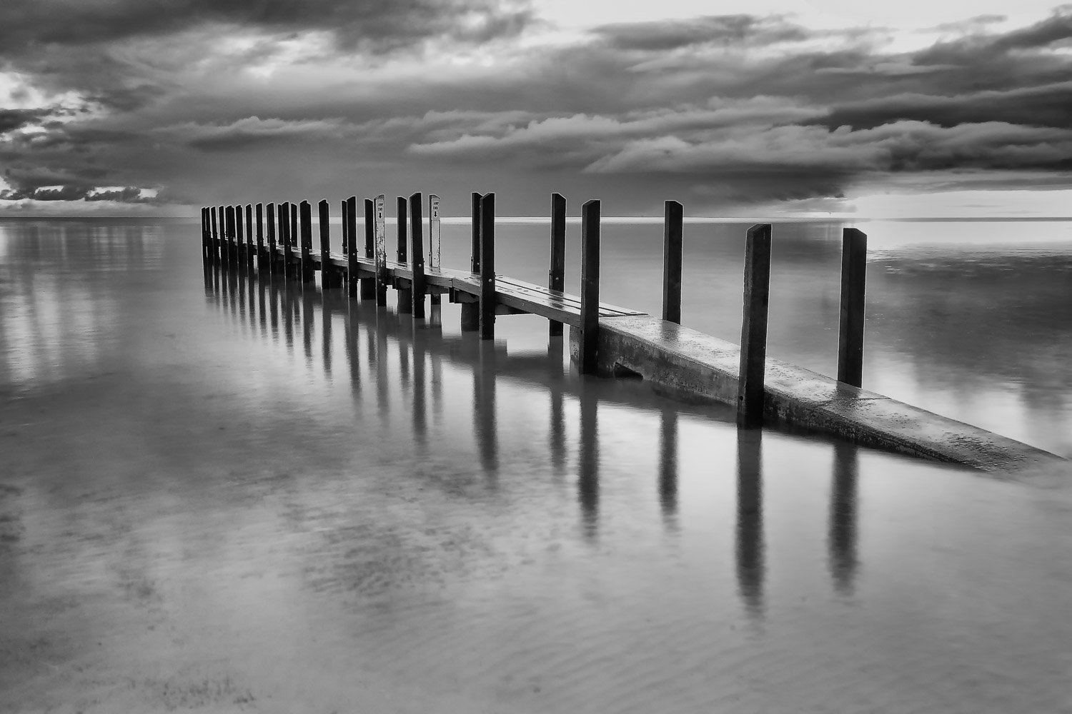 Morning-Storm_Boat-Ramp_Quindalup_Dunsborough_South-West_WA_Black and White
