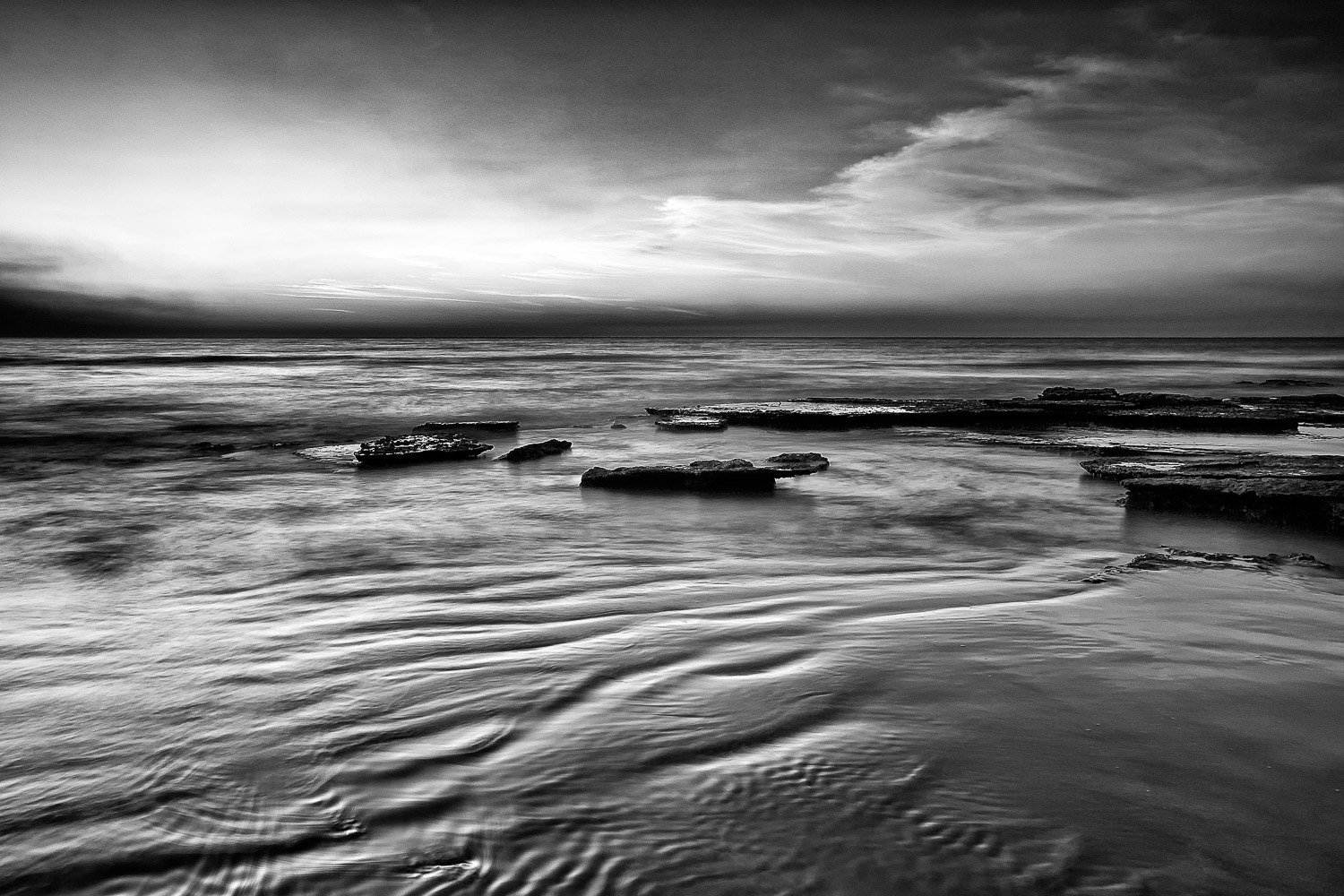 Rippled-Sunset_Cable-Beach_Broome_Kimberleys_North-West_WA_Black and White