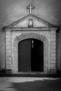 Always_Welcome_Church_Capbreton_Aquitaine_Landes_SW_France_Black_and_white