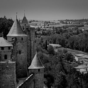 Beyond_the_Walls_Carcassonne_Languedoc_Occitanie_South_France_Black_and_White