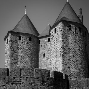Castle_Defence_Carcassonne_Languedoc_Occitanie_South_France_Black_and_White