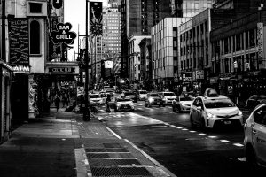 Early_Evening_Manhattan_New_York_USA_Black_and_White