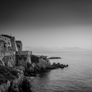 Fortified_View_Point_Antibes_French_Riviera_Provence_Alpes_Côte-dAzur_South_France_Black_and_White