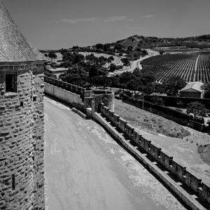 Fortress_Perimeter_Carcassonne_Languedoc_Occitanie_South_France_Black_and_White