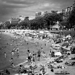 French_Bathers_Cannes_French_Riviera_Provence_Alpes_Cote_dAzur_South_France_Black_and_White