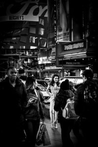 Model_Focus_Times_Square_Manhattan_New_York_USA_Black_and_White