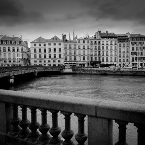 Nive_River_Bridge_Bayonne_Basque_Country_Aquitaine_SW_France_Black_and_White