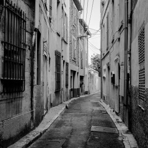Old_City_Lane_Antibes_French_Riviera_Provence_Alpes_Côte-dAzur_South_France_Black and White