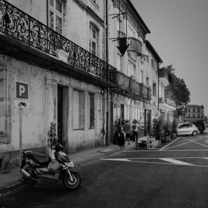 Scooter_Parking_Carcassonne_Languedoc_Occitanie_South_France_Black_and_White