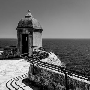 Sentry_Lookout_Monaco_Castle_Monoco_French_Riviera_Europe_Black_and_White