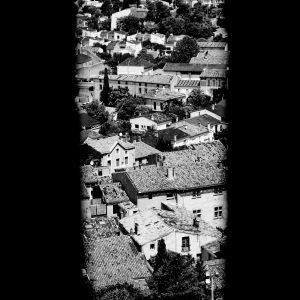 Soldiers_View_Castle_Carcassonne_Languedoc_Occitanie_South_France_Black_and_White