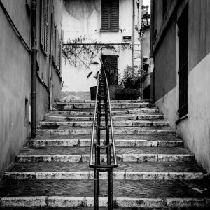 Stairwell_Antibes_French_Riviera_Provence_Alpes_Côte-dAzur_South_France_Black_and_White