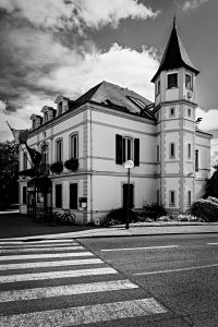 Town_Hall_Capbreton_Aquitaine_Landes_SW_France_Black_and_White