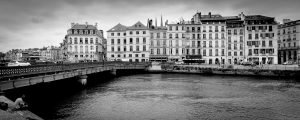 Traffic_Bridge_Nive_River_Bayonne_Basque_Country_Aquitaine_SW_France_Black_and_White