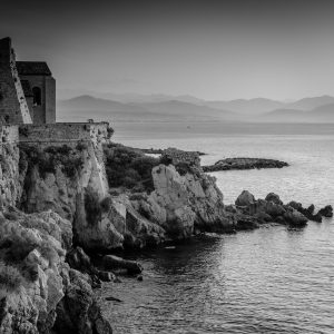 View_to_Nice_Antibes_French_Riviera_Provence_Alpes_Côte-dAzur_South_France_Black_and_White