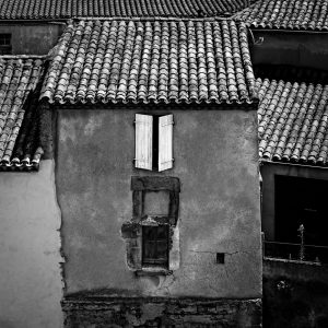 White_Shutters_Carcassonne_Languedoc_Occitanie_South_France_Europe_Black_and_White